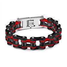 Edelstahl Herren Massiv Armband 22 cm Fahrradkette Biker Armkette Schwarz Rot
