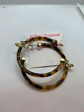 $42  Betsey Johnson  Tortoise  look large hoop  earrings with bee  F200 zz