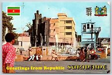 Greetings from Republic Suriname Spanhoek Fontein Fountain Continental Postcard