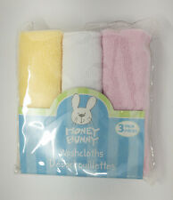 NEW Honey Bunny Woven Baby Washcloths - 3 pack (Yellow, White, Light Pink)