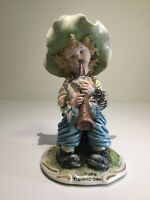 RARE VINTAGE Tiziano Galli Sculpture Boy Playing Flute With Fluffy Dog, Italy