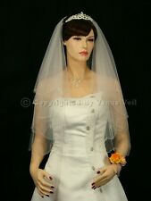 2 Tiers Bridal Wedding Veil White/Ivory Elbow Scalloped Crystal Beaded Edge