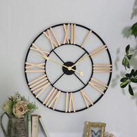 black gold skeleton wall clock roman numerals timepiece round garden outdoor