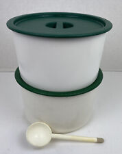 New listing Vintage Tupperware One Touch Coffee Storage Set Filters White with Green Lids