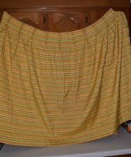 VINTAGE DRAPES / CURTAINS 2 YELLOW GREEN ORANGE STRIPED PANELS 60'S -70'S HIPPY