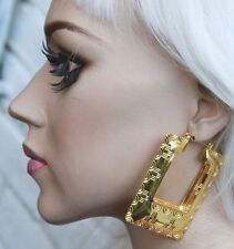 AZTEC DOOR KNOCKER GOLD TONE CREOLE HOOP LARGE FASHION EARRINGS