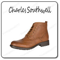Mens Boys Tan Brown Casual Military Style Lace Up Ankle Brogue Boot Size UK 7-11