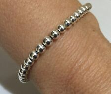Sterling Silver heavier weight 4mm bead bracelet  Handmade UK