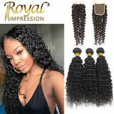 3 Bundles With Closure 100% Peruvian Human Hair Extensions Weave Curly Wave Weft