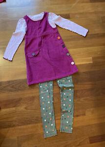 Crazy 8 By Gymboree Owl Corduroy Button Dress, Top & Leggings Set Lot 7 8 10