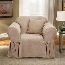 Sure Fit Soft Suede 1 Piece Chair Slipcover Box Cushion in Soft Suede Cream