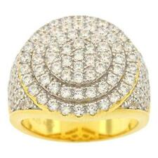 Round Dome Style Ring Size 11 Men's Gold Finish .925 Silver Simulated Diamond