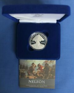 """2005 Silver Proof £5 Crown coin """"Admiral Nelson"""" in Case with COA"""