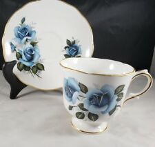Merrie England English Bone China Teacup and Saucer Blue Rose