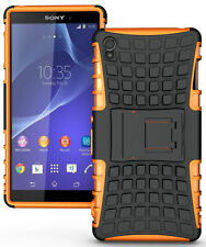 NEON ORANGE GRENADE GRIP TPU SKIN HARD CASE COVER STAND FOR SONY XPERIA Z3 PHONE