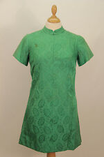 1960s Green Silk Mini Dress
