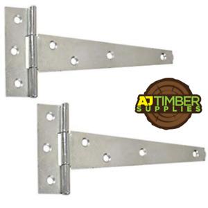 PAIR Galvanised or Zinc Tee Hinges Gate Shed 4/6/8/10/12/14/16/18/24