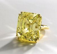 8Ct Asscher Simulant Canary Yellow Diamond Solitaire Ring Yellow Gold Fns Silver