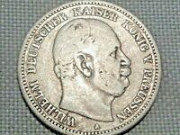 German Reich Prussia 2 Silver Mark 1876 A Kaiser Wilhelm Crowned Imperial Eagle