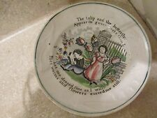 S  38 antique porcelain china meakin child's plate the tulip and butterfly