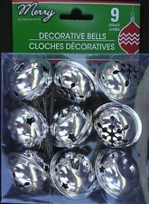 """Christmas Metal Jingle Craft Bells Large Silver 9 Pack 1.5"""" New"""