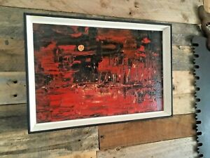 SUPERB 1960'S MID CENTURY TEXTURED OIL ON BOARD PAINTING ABSTRACT RED NIGHT SKY
