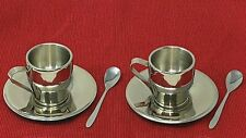2 sets Stainless Breville Espresso Coffee Roma Cups Saucers & demitasse SPOONS