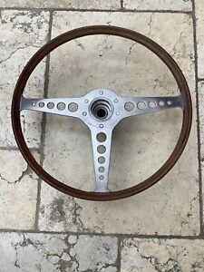 "GENUINE early Seres 1 1961-64 JAGUAR E TYPE XKE wood rim steering wheel 16"" RARE"