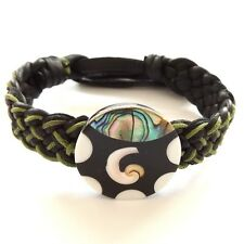 GREEN BLACK LEATHER WOVEN TIE ON FRIENDSHIP BRACELET WITH ABALONE SHELL SWIRL