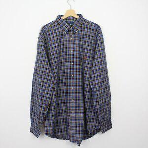 T52 Ralph Lauren Men Blue Check Long Sleeve Shirt Classic Fit Tall Size XLT XL