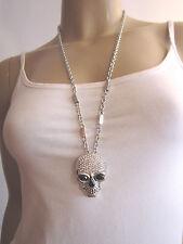 Hals Kette Modekette Lang Modeschmuck XL Strass Totenkopf Skull Silber f02176