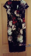M&S Ladies Black Floral v neck bodycon dress with lace edging size 12  nwt
