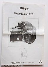 Nikon Nikkor 50mm 1:1.8 Ai Instruction Manual Book - Multilingual USED B38 AC4