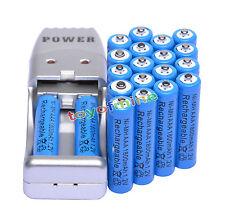 20X Batería recargable AAA 3A 1800mAh 1.2V NiMH azul + USB Cargador