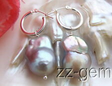 E1203008 19mm Grey Nucleated Pearl Earrings-925 Silver Lever Back
