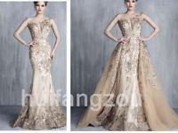 Wedding Dresses Detachable Train Bridal Gowns Champagne Beads Mermaid Sleeveless