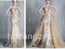 Wedding Dresses With Detachable Train Champagne Beads Mermaid Luxury Beadings