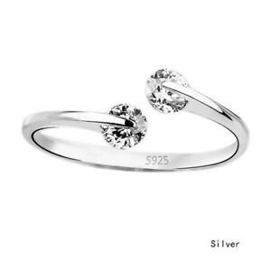 925 STERLING  SILVER PLATED ADJUSTABLE  TWIN CRYSTAL  FINGER  RING-NOT TOE RING