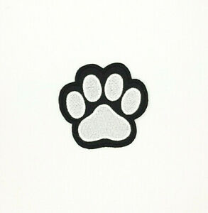 WHITE ON BLACK PAW PRINT  Iron On Sew On Embroidered Patch