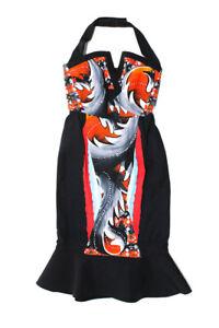 PETER PILOTTO Womens Abstract Neoprene Drop Waist Dress Red Black Size 8
