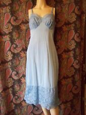 Vintage Vanity Fair Blue Nylon Tricot Lacy Empire Slip Nighty Lingerie 34T