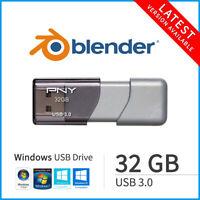 Blender 3D 2020 Windows 64Bit 32GB USB 3.0 Animation Modeling Rendering Software