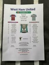 WEST HAM UNITED v CHARLTON ATHLETIC 15.09.20 CARABAO CUP ROUND TWO TEAM SHEET