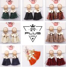 Bohemian Vintage Women Boho Pearl Resin Tassel Ear Stud Earrings Dangle Jewelry