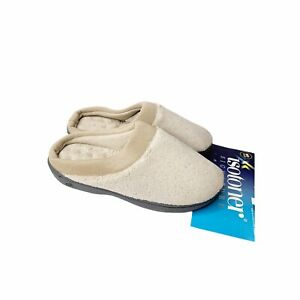 Isotoner Beige Terry Clog Slippers M 7.5-8 Memory Foam Cushioned Cozy Comfort