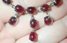 Natural Garnet Necklace set with earrings and Ring setting on German Silver