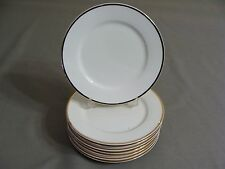 8 White W/Gold Edge Faberware Salad Plates In The Elegance Gold Pattern #4533