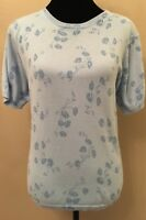 Ship 'N Shore Womens Sweater Large Blue Floral Short Sleeve Crew Neck Pullover