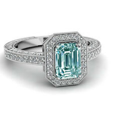 Diamond 925 Sterling Silver Ring 3.18ct Vvs1/=Sky Blue Green Emerald Moissanite
