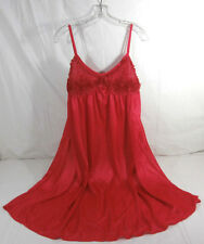 LATI FASHION XL Red Womens Spaguetti Strap Nightgown 100% Polyester New